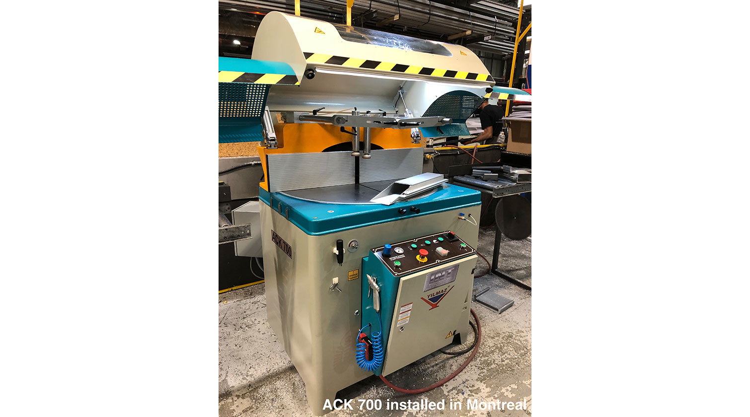 INT aluminum up cut saw Yilmaz ACK 700 installed in Montreal