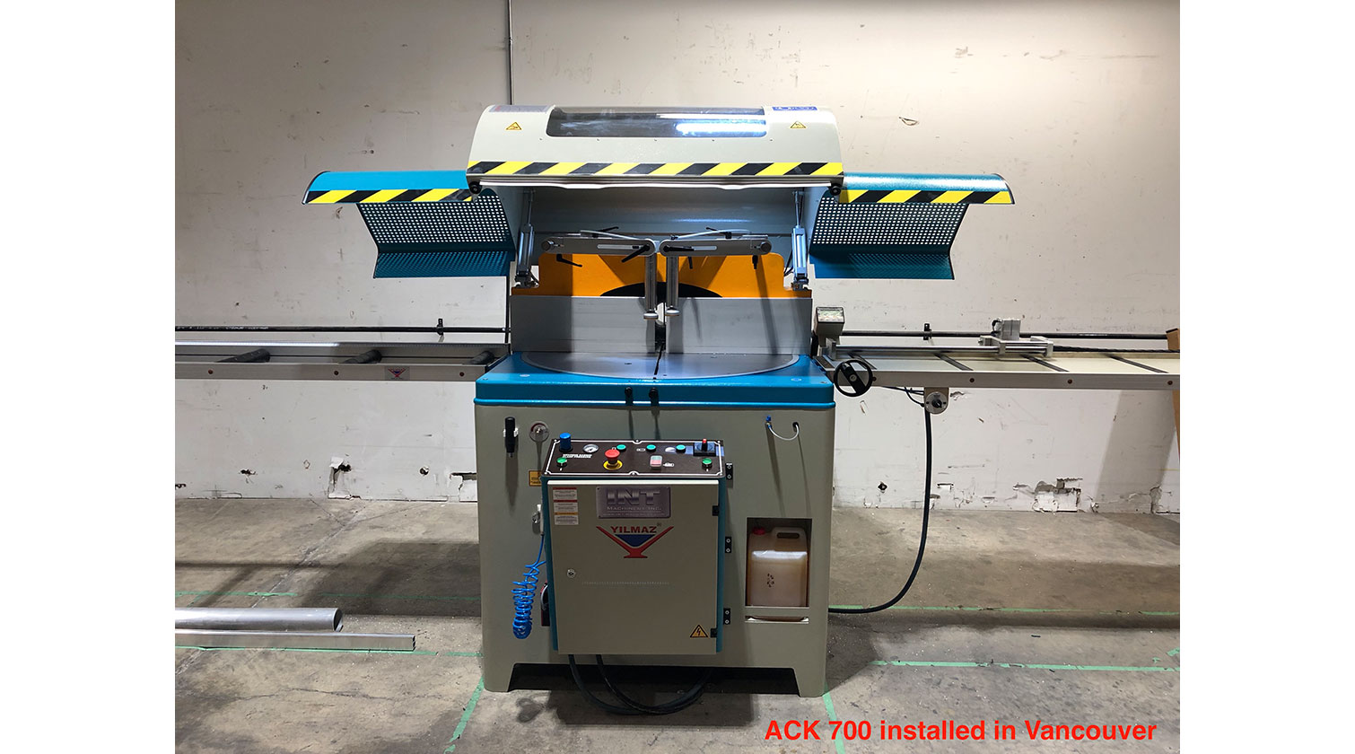 INT aluminum up cut saw Yilmaz ACK 700 installed in Vancouver