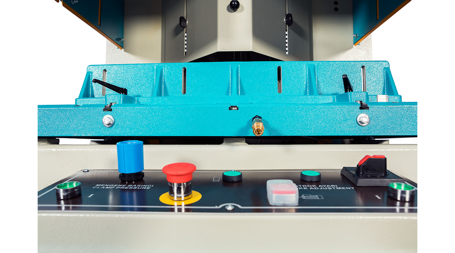 INT aluminum V cut vertical saw Yilmaz VK 420 operator console