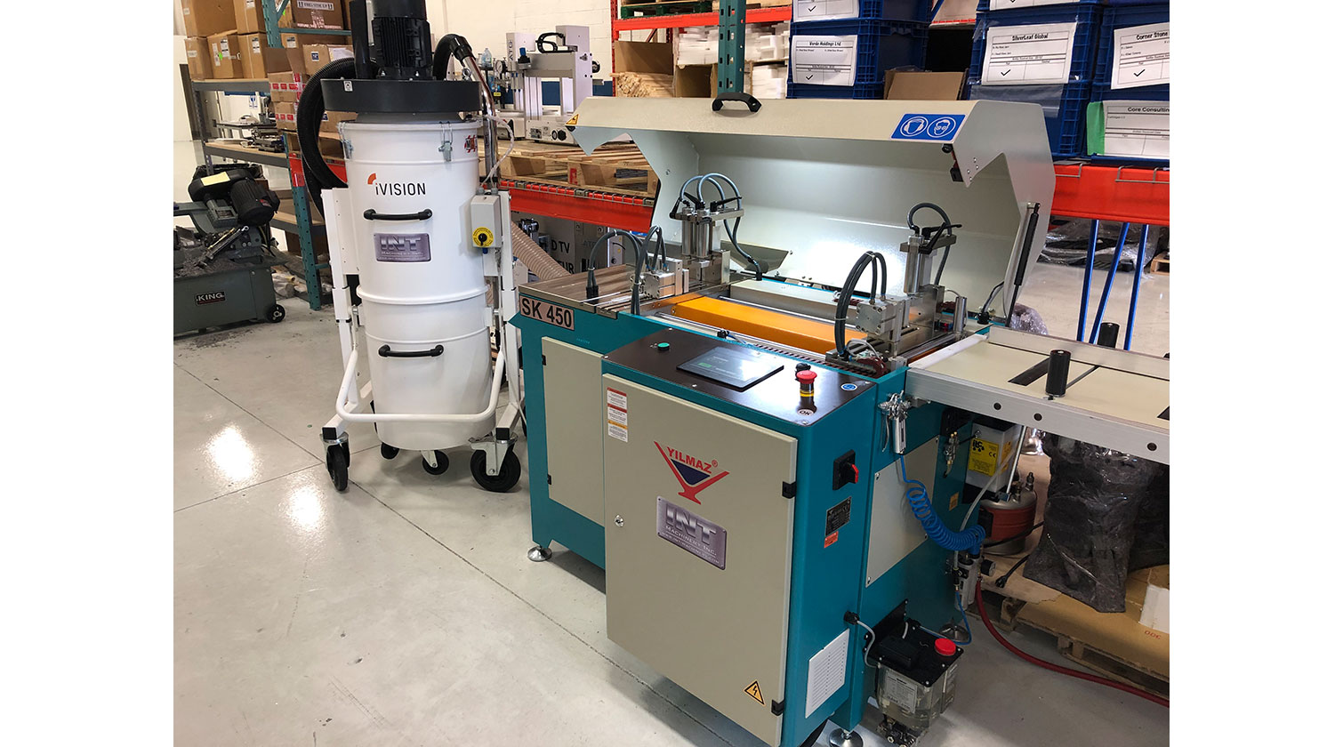 INT aluminum automatic saw Yilmaz SK 450 installation in Vancouver BC