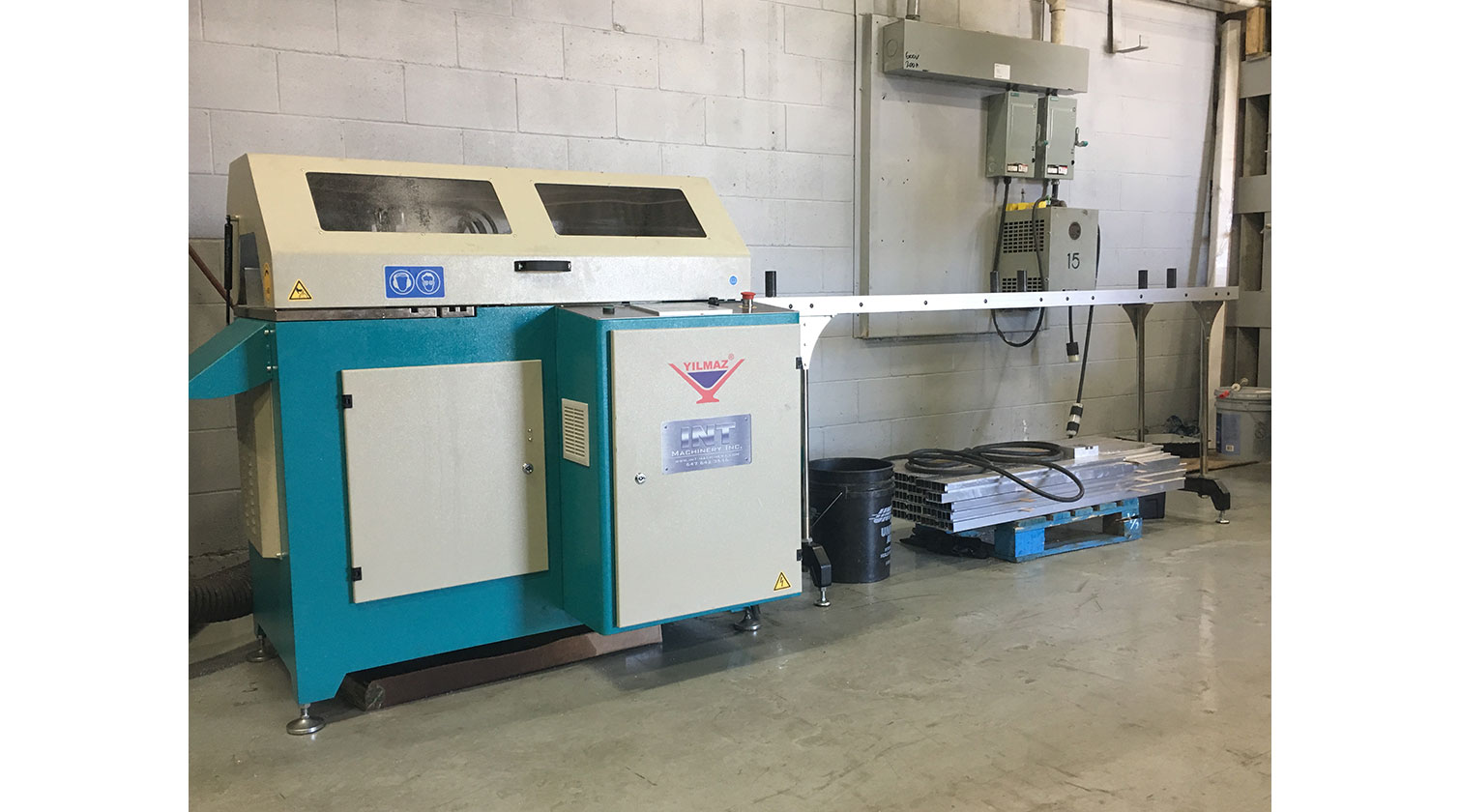 INT aluminum automatic saw Yilmaz SK 450 installation in Windsor ON 1