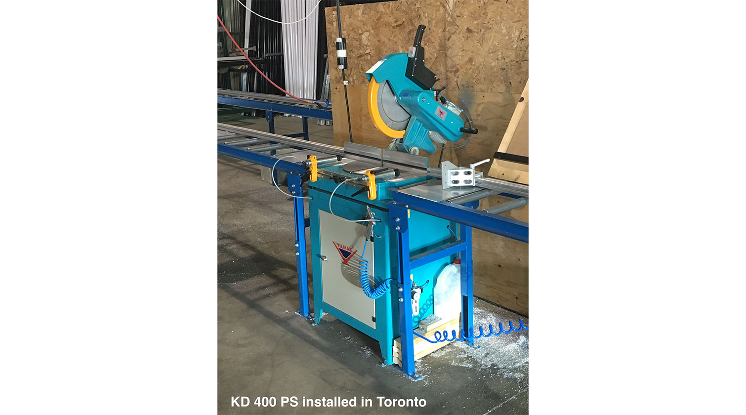 INT aluminum chop saw Yilmaz KD 400 PS installed in Toronto