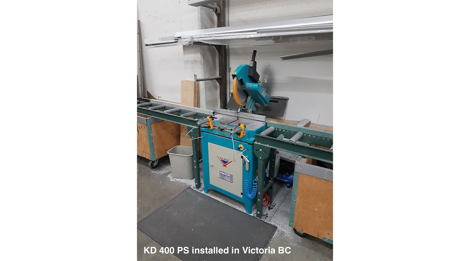 INT aluminum chop saw Yilmaz KD 400 PS installed in Victoria BC