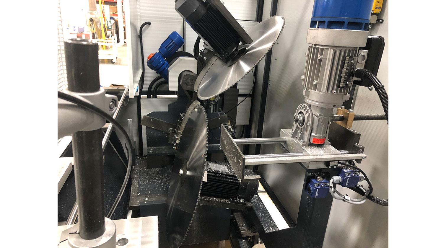 INT aluminum notching saw Pressta Eisele Prisma 650 tilted cutting blades b