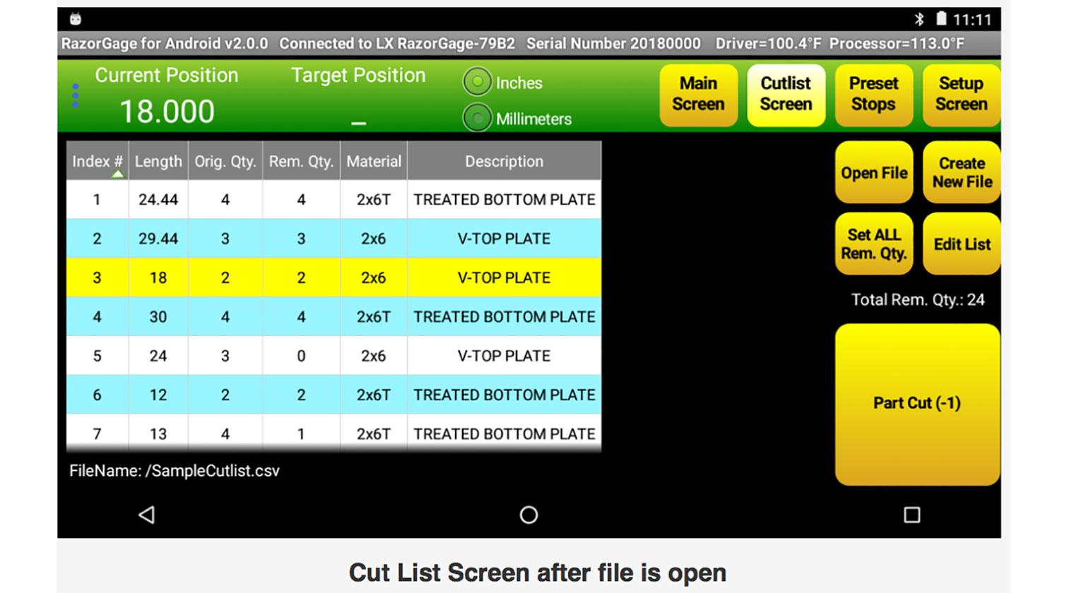 INT aluminum positioner RazorGage xT Android cutting list screen