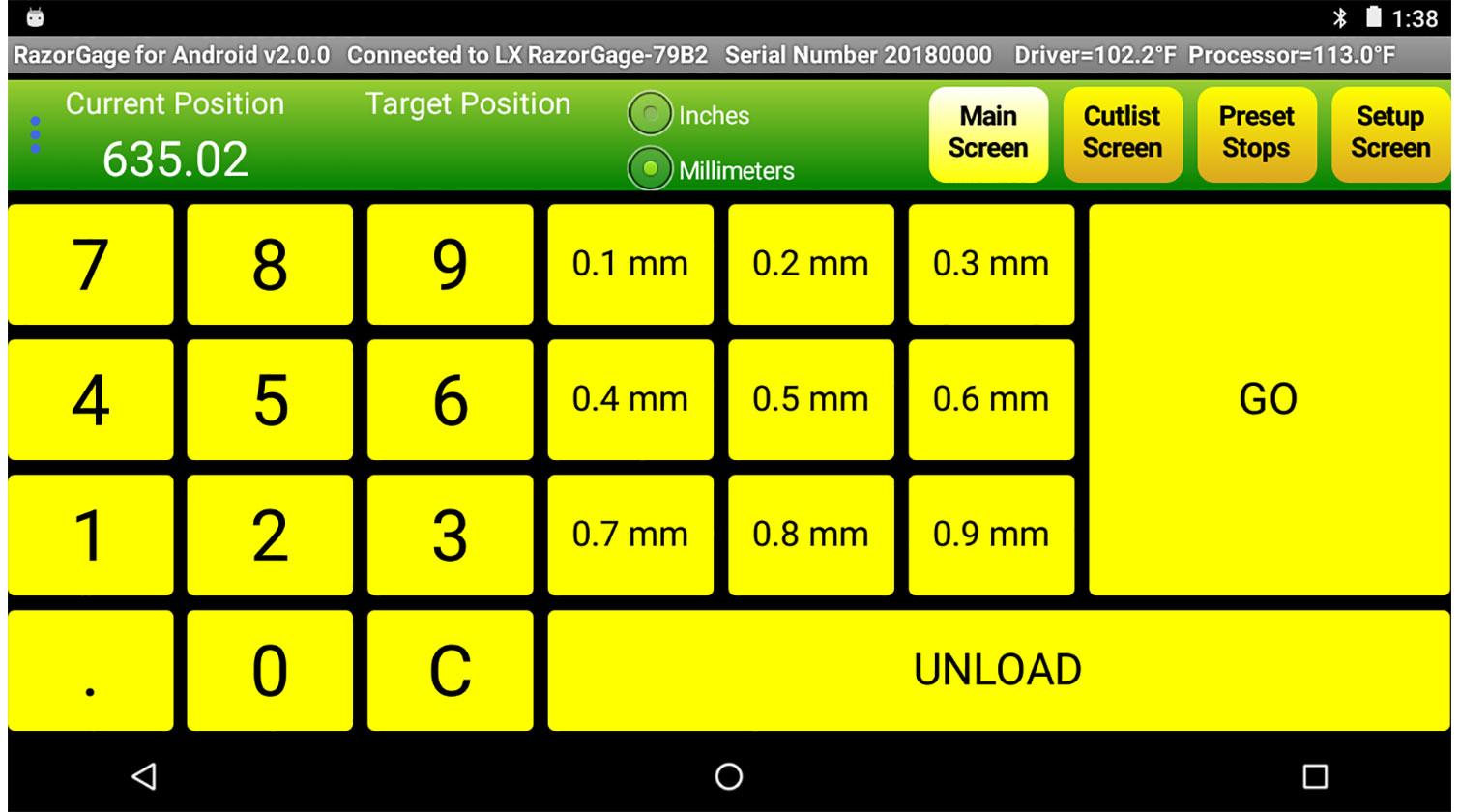 INT aluminum positioner RazorGage xT Android main screen mm