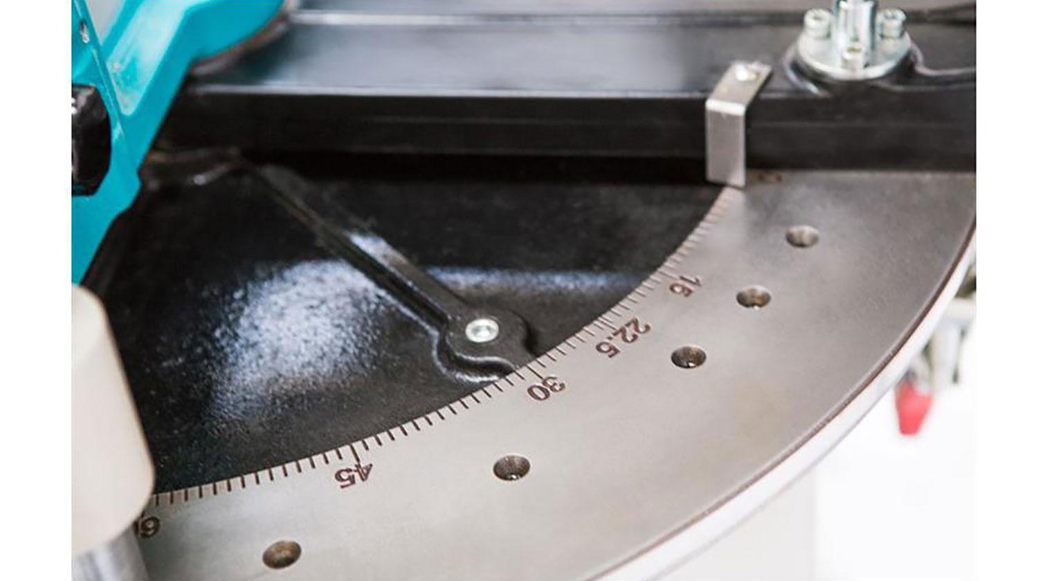 INT aluminum radial arm compound saw Yilmaz RYK 420 horizontal angle adjustment