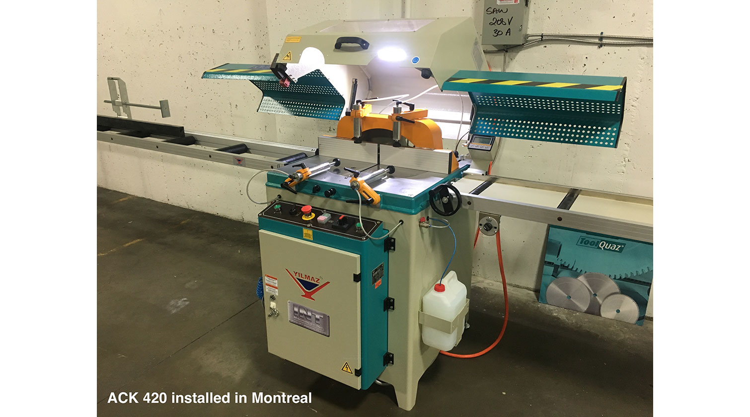 INT aluminum up cut saw Yilmaz ACK 420 installed in Montreal QC