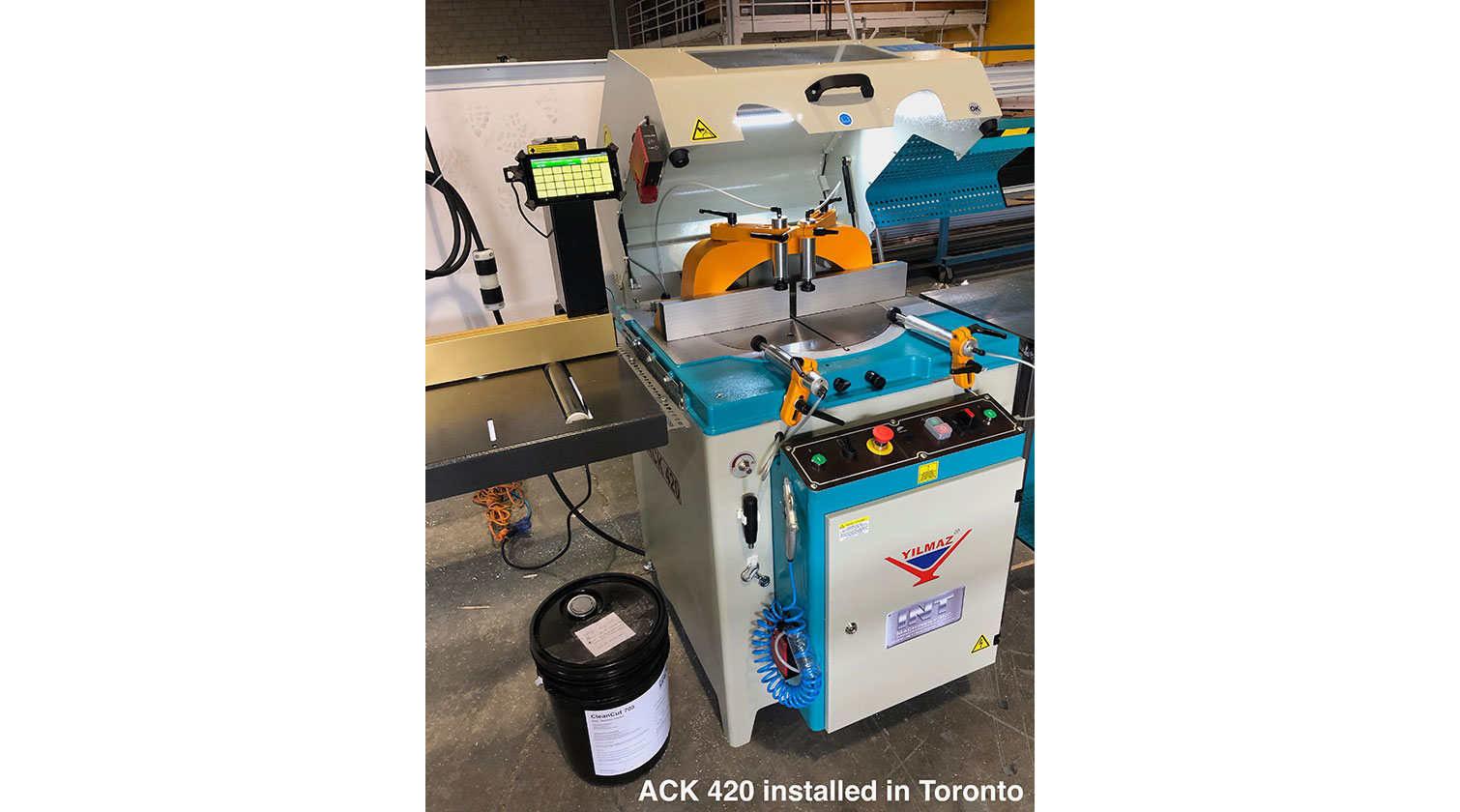 INT aluminum up cut saw Yilmaz ACK 420 installed in Toronto ON