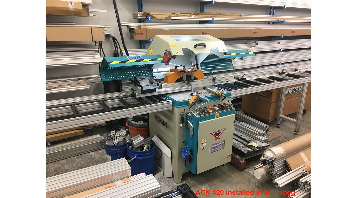 INT aluminum up cut saw Yilmaz ACK 420 installed in Winnipeg MB