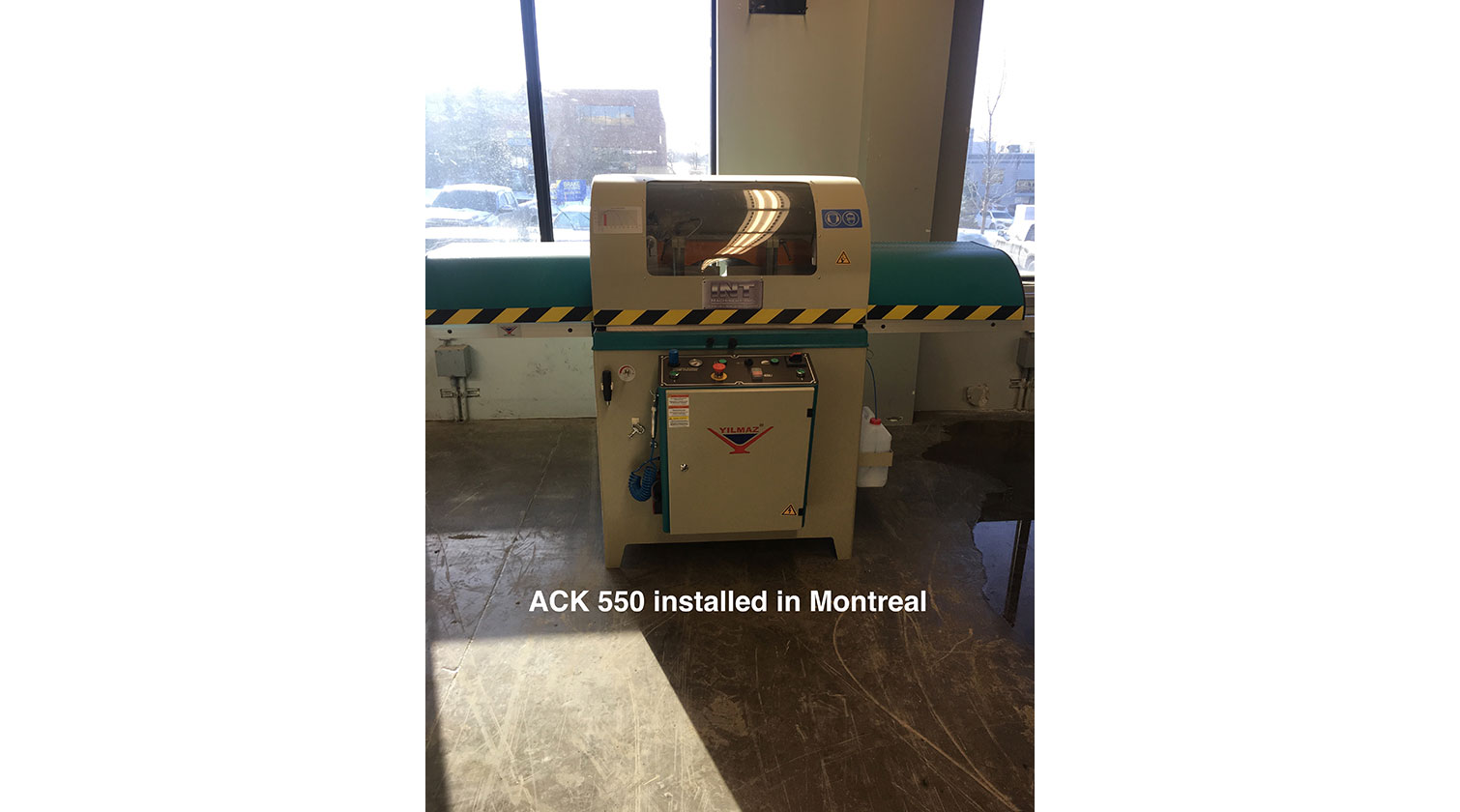 INT aluminum up cut saw Yilmaz ACK 550 installed in Montreal QC