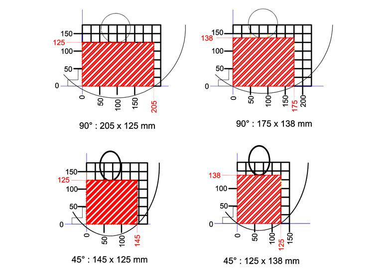 Yilmaz KD 400 aluminum chop saw cutting diagram