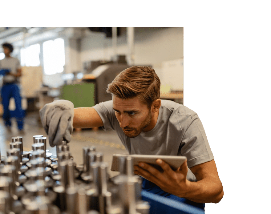 Specialist inspecting components