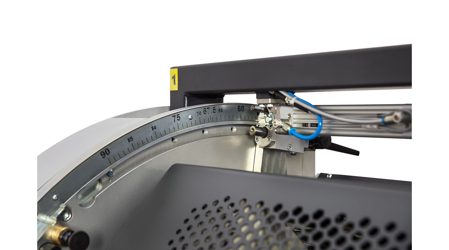 INT pvc double mitre saw Yilmaz DC 550 cutting head angle adjustment detail