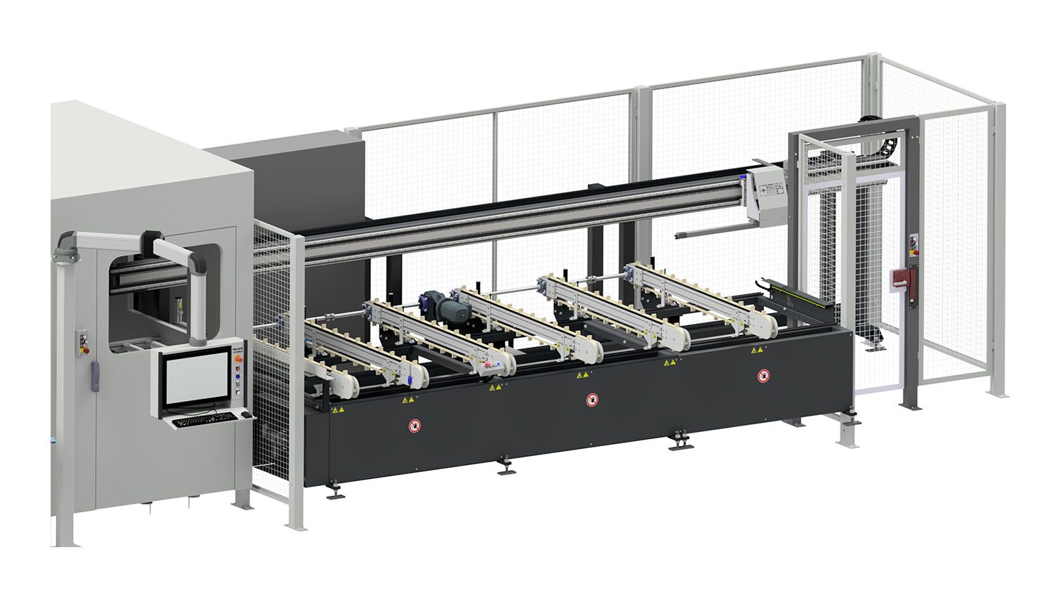 INT aluminum cutting centre Pressta Eisele SW 600 infeed belts
