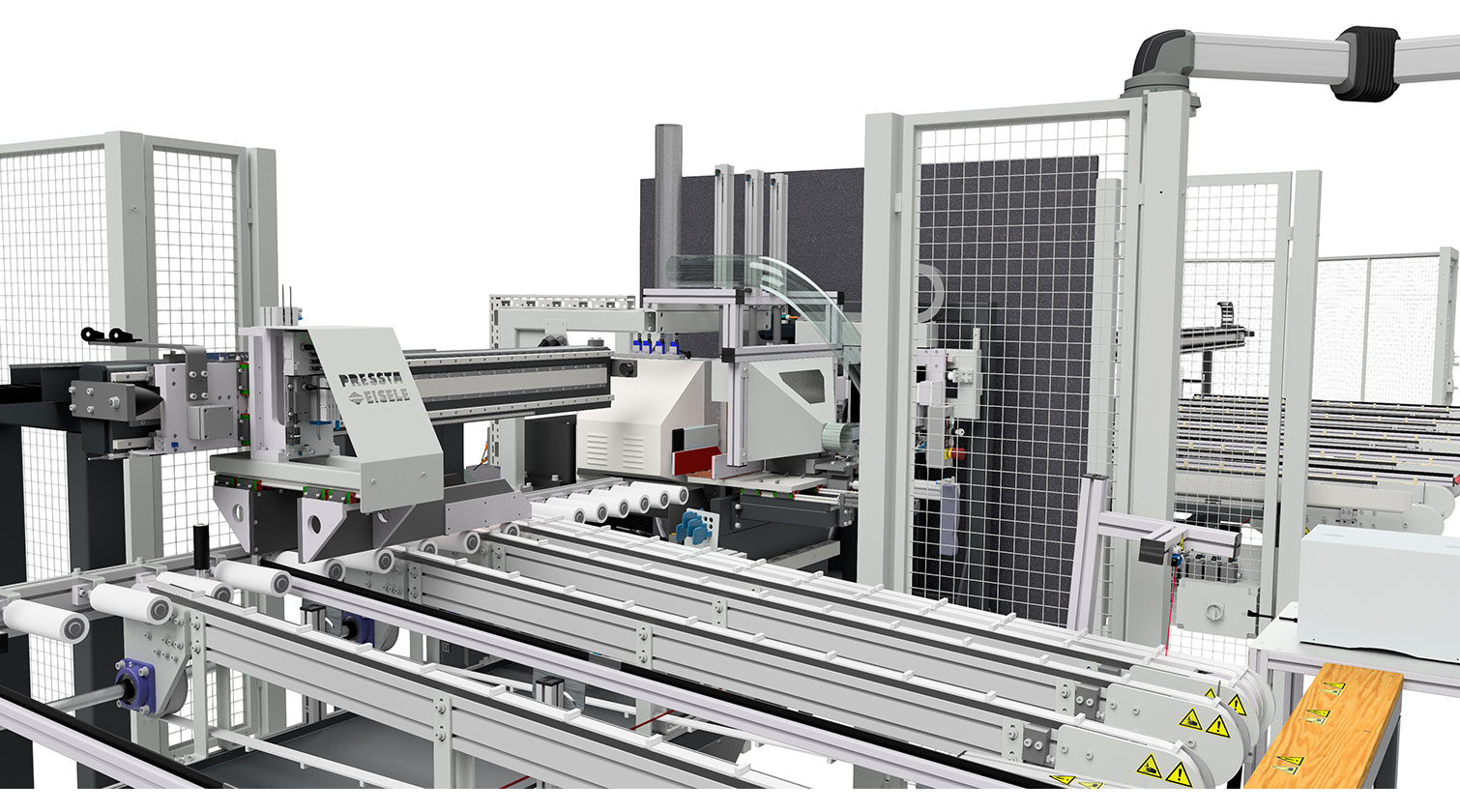 INT aluminum cutting centre Pressta Eisele SW 600 outfeed belts a