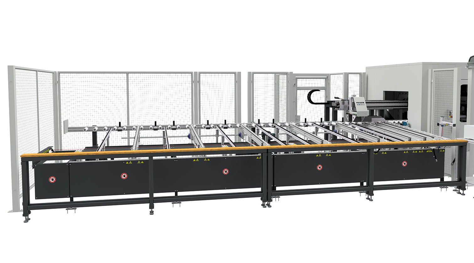 INT aluminum cutting centre Pressta Eisele SW 600 outfeed belts